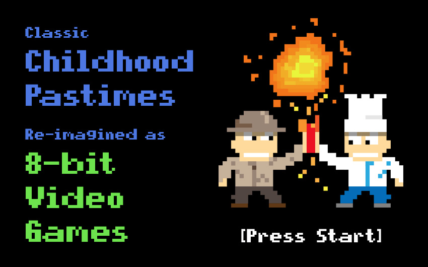 Classic Childhood Pastimes Re-imagined as 8-bit Video Games
