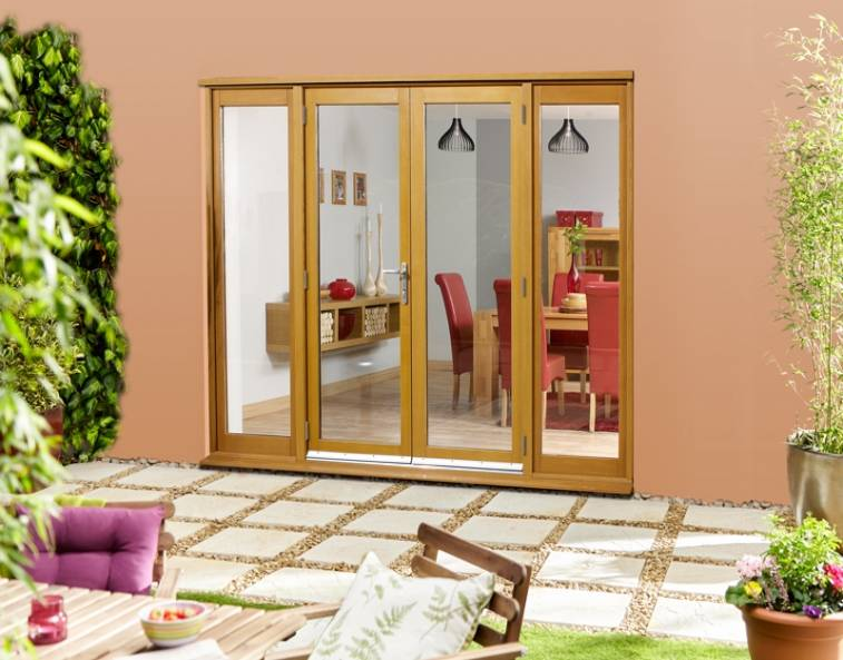 brown wood exterior french doors