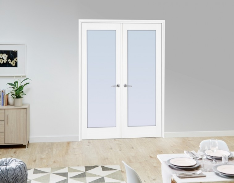 frosted glass white french doors