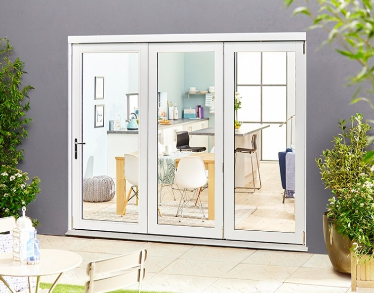 select white external bifold doors